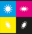 sun sign   white icon with vector image