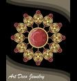 golden antiquarian jewel in art deco style vector image vector image