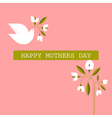 Mothers day cards with dove spring flowers vector image