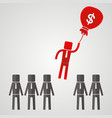 businessman flies on a bag with money vector image