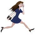 Girl running with a bag and phone vector image