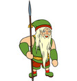 green crazy old gnome vector image