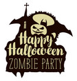 halloween inscription with pumpkin bat and church vector image