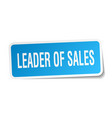 leader of sales square sticker on white vector image