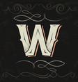 retro style western letter design letter w vector image