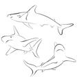 Shark line style symbol vector image