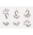 unicorn rainbow pattern - girls stickers vector image