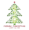 ChristmasNew year icons in spurce tree shape vector image