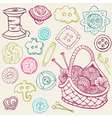 sewing kit doodles vector image vector image