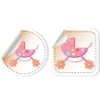 Baby icon set - baby girl perambulator vector image