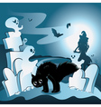 Cartoon Cemetery with Ghosts3 vector image