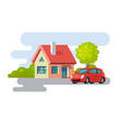 house village property building with car vector image