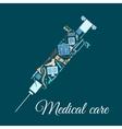 Medical icons shaped as syringe vector image