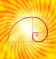 Golden ratio figure on textured sunray background vector image