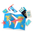 tourist concept set of things for traveling vector image
