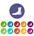 foot heel icons set flat vector image
