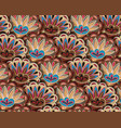 seamless ethnic pattern with floral motives beige vector image