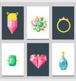 jewelry items gold cards elegance gemstones vector image
