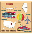 Flat map of Illinois vector image vector image