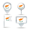Map pins with flag of Cyprus vector image