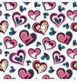valentine seamless hearts pattern Hand drawn vector image