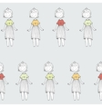Seamless texture with cute princess on grey vector image