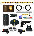 concept of police equipment isolated on white vector image