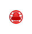 firefighter helmet world logo vector image