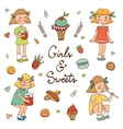 Girls and sweets vector image vector image