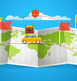 World map with red flag and vehicle Design vector image vector image