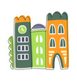 narrow houses stuck to each other cute fairy tale vector image