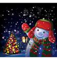 snowman tree vector image vector image