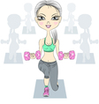 fashion fitness girls lifting dumbbells vector image vector image