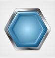 Blue and metallic hexagon shape logo vector image