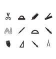 Silhouette school and office tools icons vector image vector image