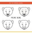 Polar bear Set isolated face heads bear in color vector image
