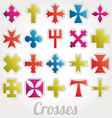set crosses various religious symbols vector image