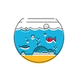 Aquarium icon Colorful fish in the aquarium vector image