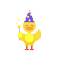 funny little yellow duckling magician with magic vector image