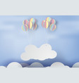 paper art of signboard cloud on sky with colorful vector image