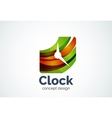 Clock logo template time management business vector image