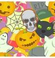 Cartoon Halloween symbols seamless pattern vector image