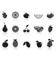 black fruit icons set vector image