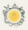 happy easter - monochromatic hand drawn round vector image