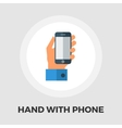 Hands holding Mobile phone flat icon vector image
