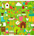 Spring Garden Flat Design Green Seamless Pattern vector image