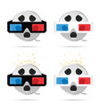 film tape roll with 3d movie glasses set vector image