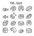 fish meat icon set in thin line style vector image