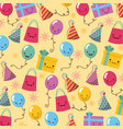 happy birthday kawaii icons set vector image
