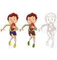 man and rugby ball in three different drawing vector image
